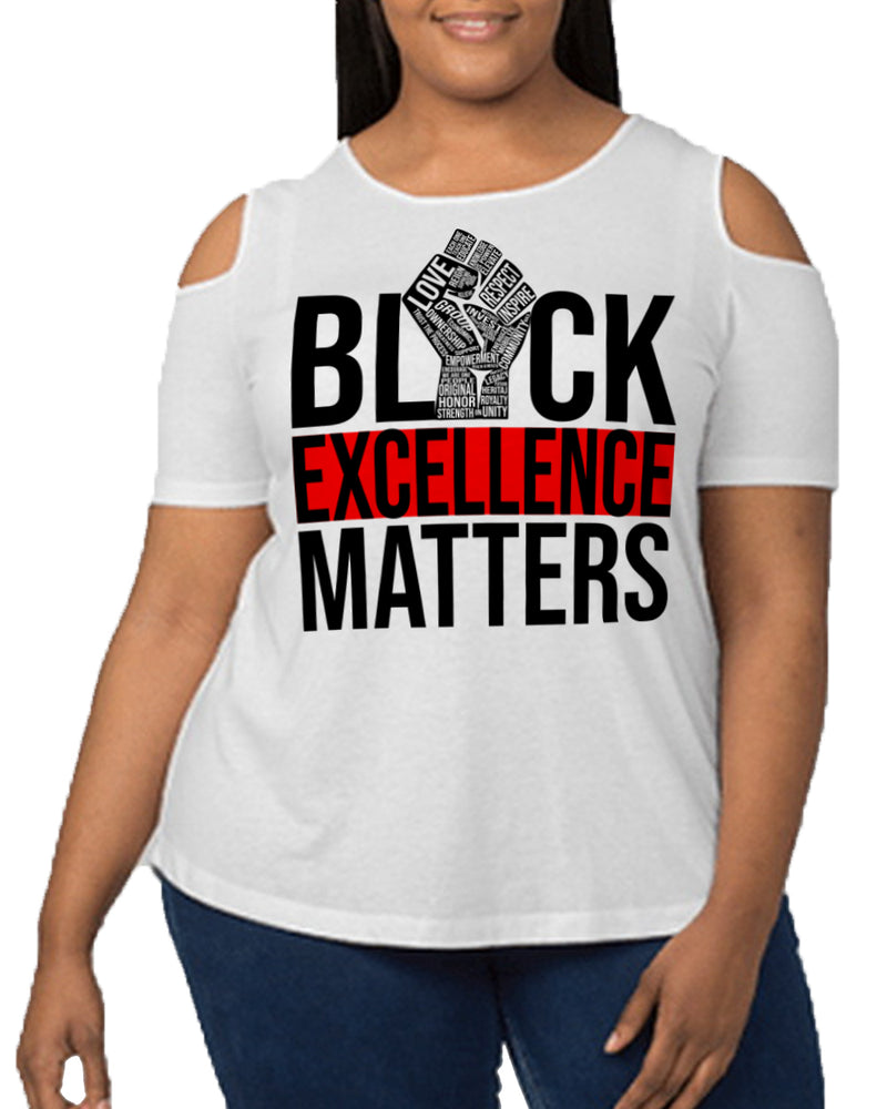 EXCELLENCE DRIVEN-COLD SHOULDER-(PLUS SIZE)