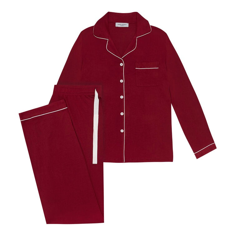 Laad afbeelding, Made Wright London Bamboe Pyjama Set 2021 Burgundy