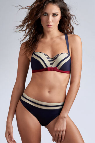 Marlies Dekkers Starboard High Waist Bikini Briefs 35183 Blue Ivory Red