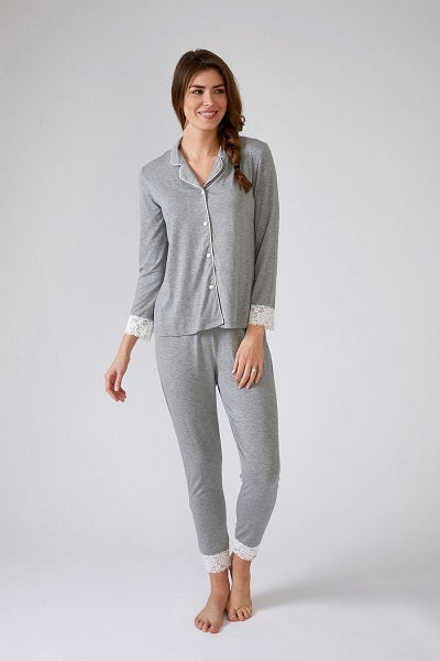 Pretty You London Lace Modal Pyjama Set 2635 Grey