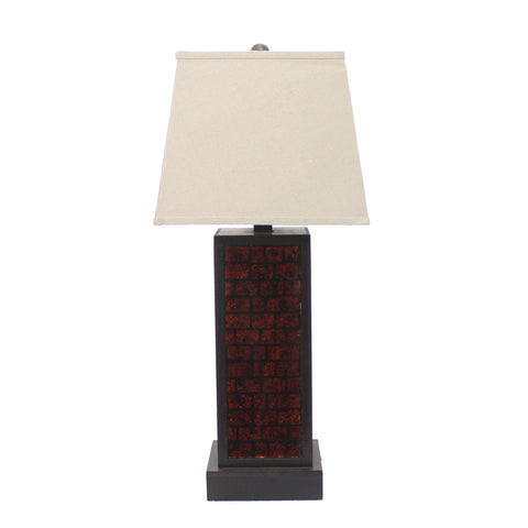"13"" x 15"" x 30.75"" Burgundy, Metal, Brick Pattern - Table Lamp"