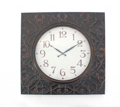 "28"" x 28"" x 2"" Brown Vintage Square Brass Metal  Wall Clock"
