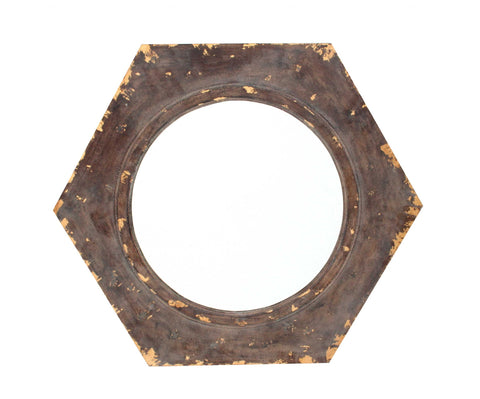 "23.5"" x 27"" x 3.5"" Bronze, Vintage Round, Hexagon Frame - Cosmetic Mirror"