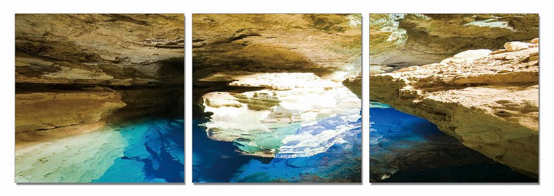"24"" Canvas 3 Panels Blue Grotto Color Photo"