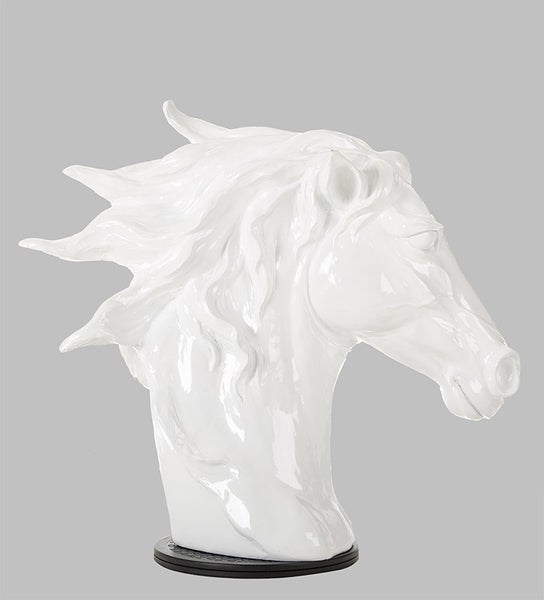 "11"" White Polyresin Horse Head Sculpture"