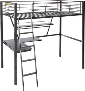 "79"" X 42"" X 72"" Silver And Black Metal Tube Loft Bed With Desk"