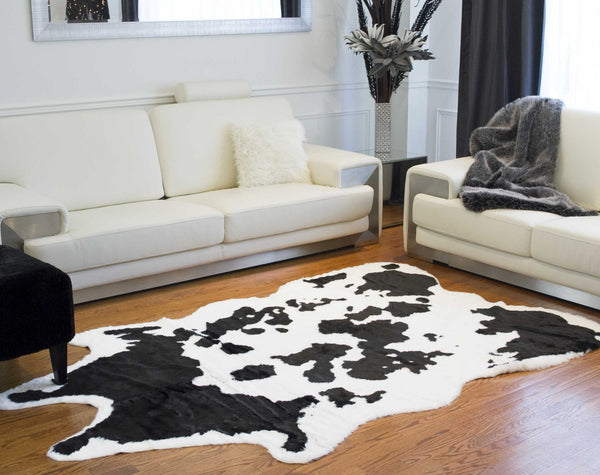 "63"" x 90"" Sugarland Black And White, Faux Hide - Area Rug"