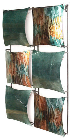 "16"" X 2"" X 25"" Turquoise, Copper And Bronze Metal Vertical Panel Wall Decor"