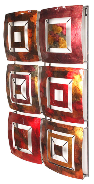 "16"" X 2.75"" X 25"" Copper Brown And Orange Metal Vertical Panel Wall Decor"