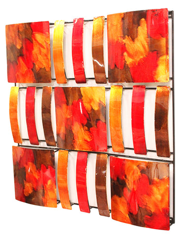 Copper Red And Gold Metal 9 Panel Square Wall Decor