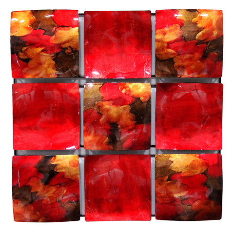 "24.5"" X 2.5"" X 24.5"" Copper Red And Gold Metal 9 Panel Square Wall Decor"