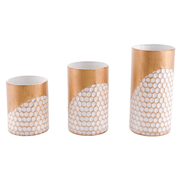 "5.7"" X 5.7"" X 11.6"" 3 Pcs Candle Holders Gold"