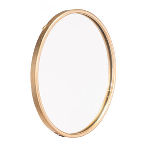 "15.9"" X 1"" X 15.9"" Small Size And Simple Design Gold Steel Mirror"
