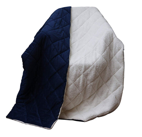 Super Soft Quilted Navy Navy Blue and Fleece Throw Blanket