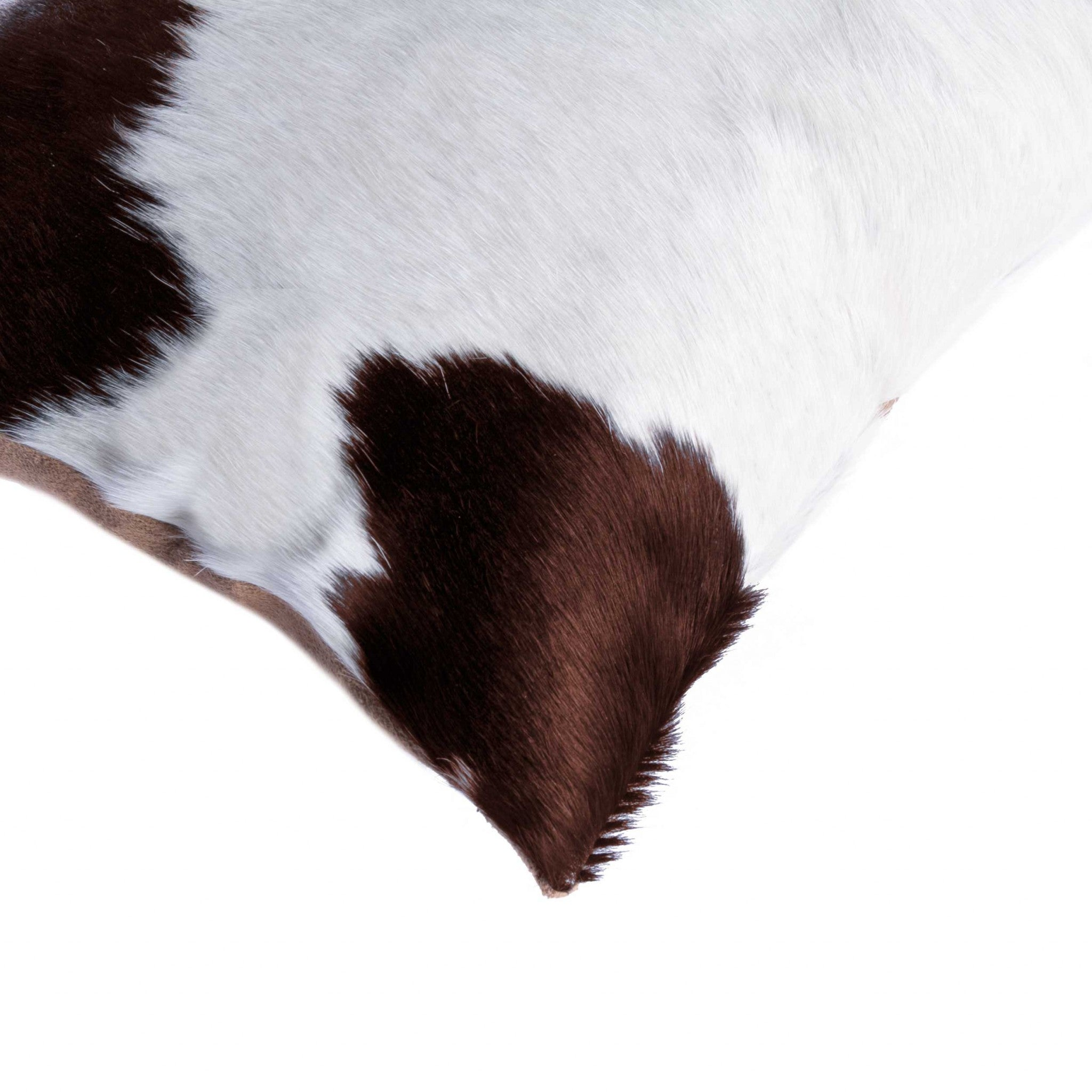 "18"" x 18"" x 5"" White And Brown Cowhide - Pillow"