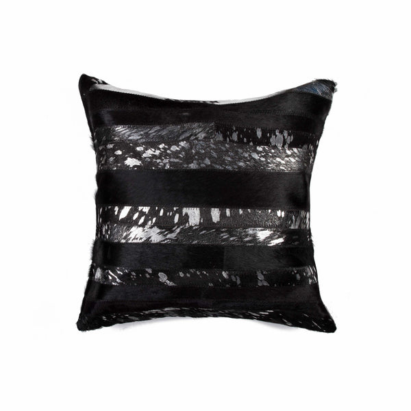 "18"" x 18"" x 5"" Black And Silver - Pillow"