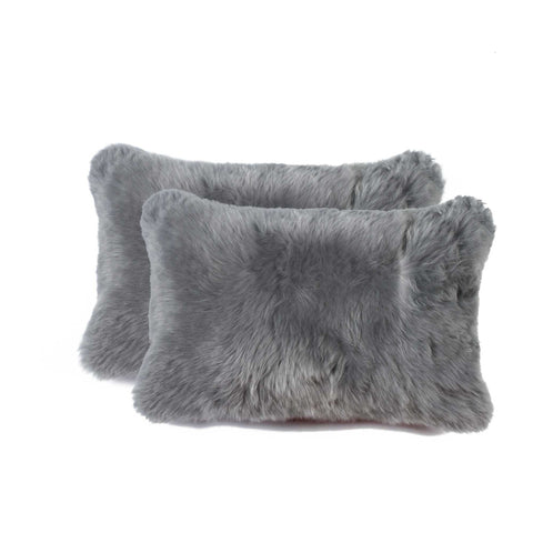 "12"" x 20"" x 5"" Gray Sheepskin - Pillow 2-Pack"