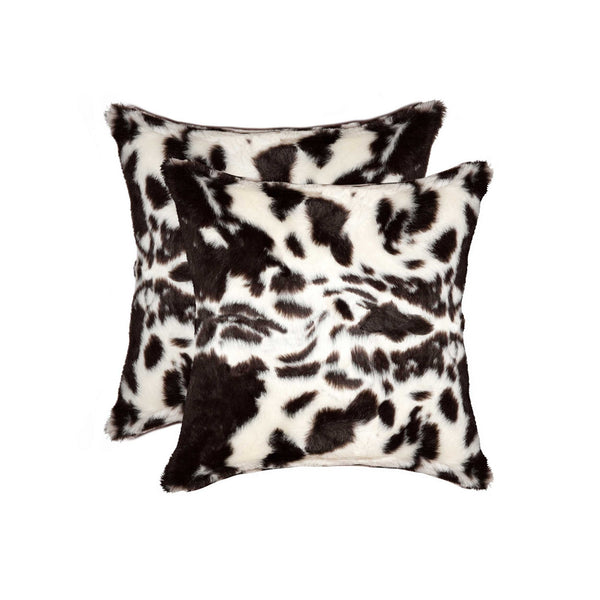 "18"" x 18"" x 5"" Brownsville Chocolate & White Faux - Pillow 2-Pack"