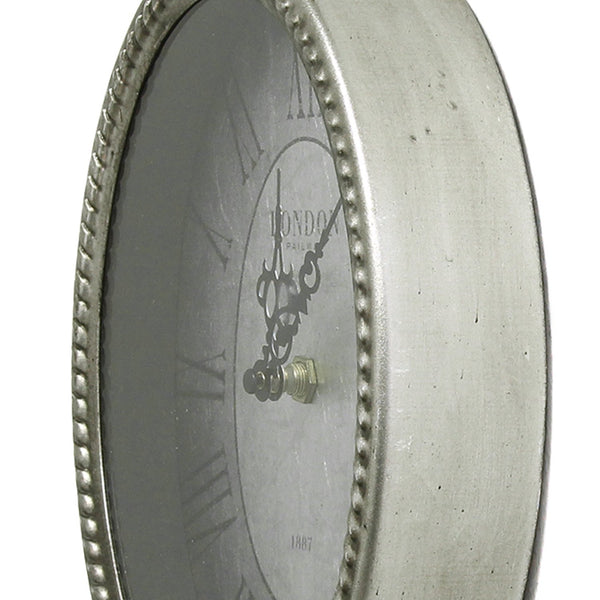 "11.75"" Oval Vintage Wall Clock with Metal Shape"