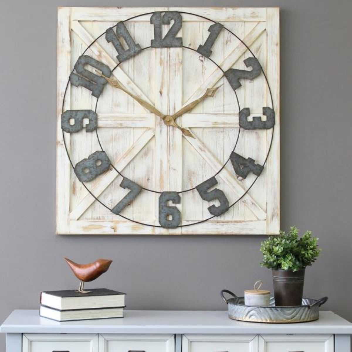 Square Distressed Wood and Metal Wall Clock with Vintage Touch