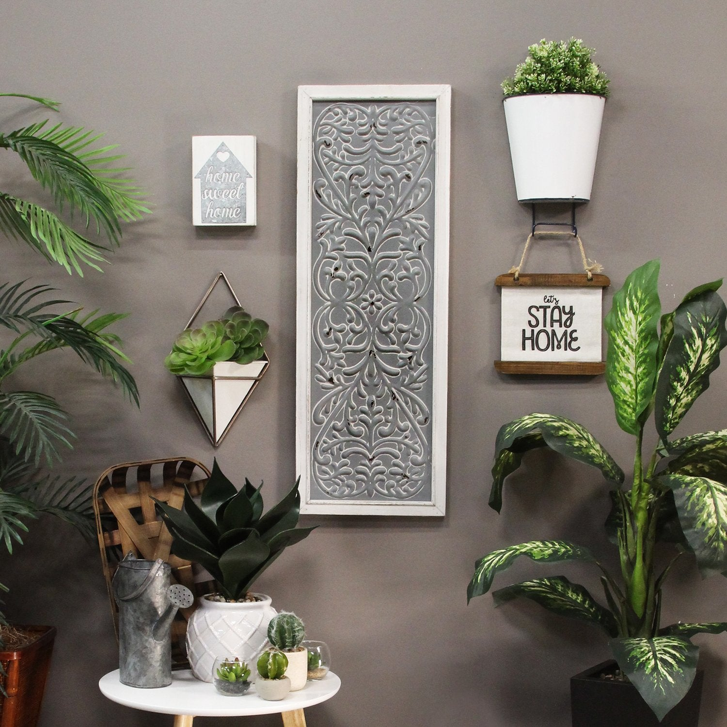 Distressed Gray Metal Embossed Wood Wall Decor