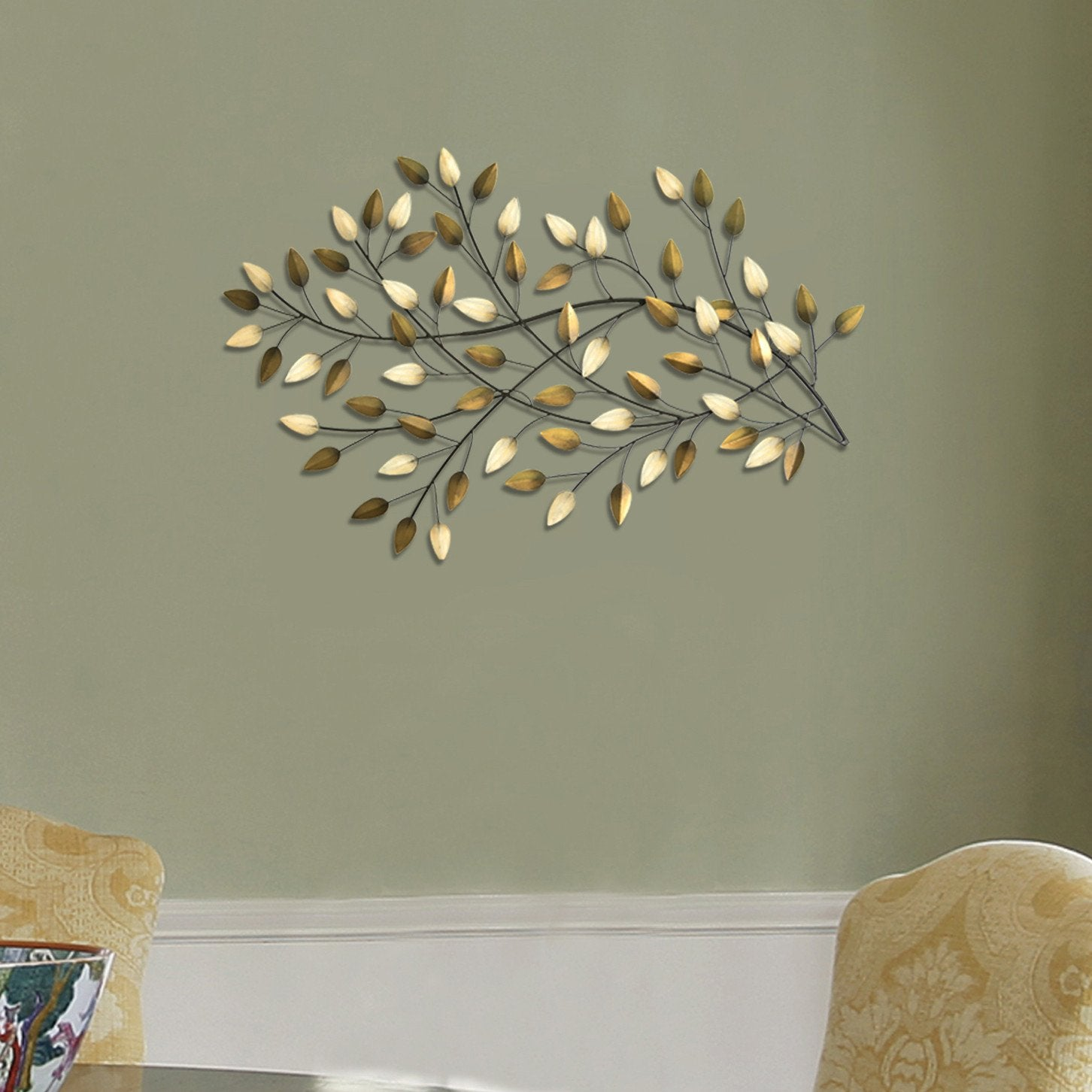 Gold and Beige Metal Blowing Leaves Wall Decor