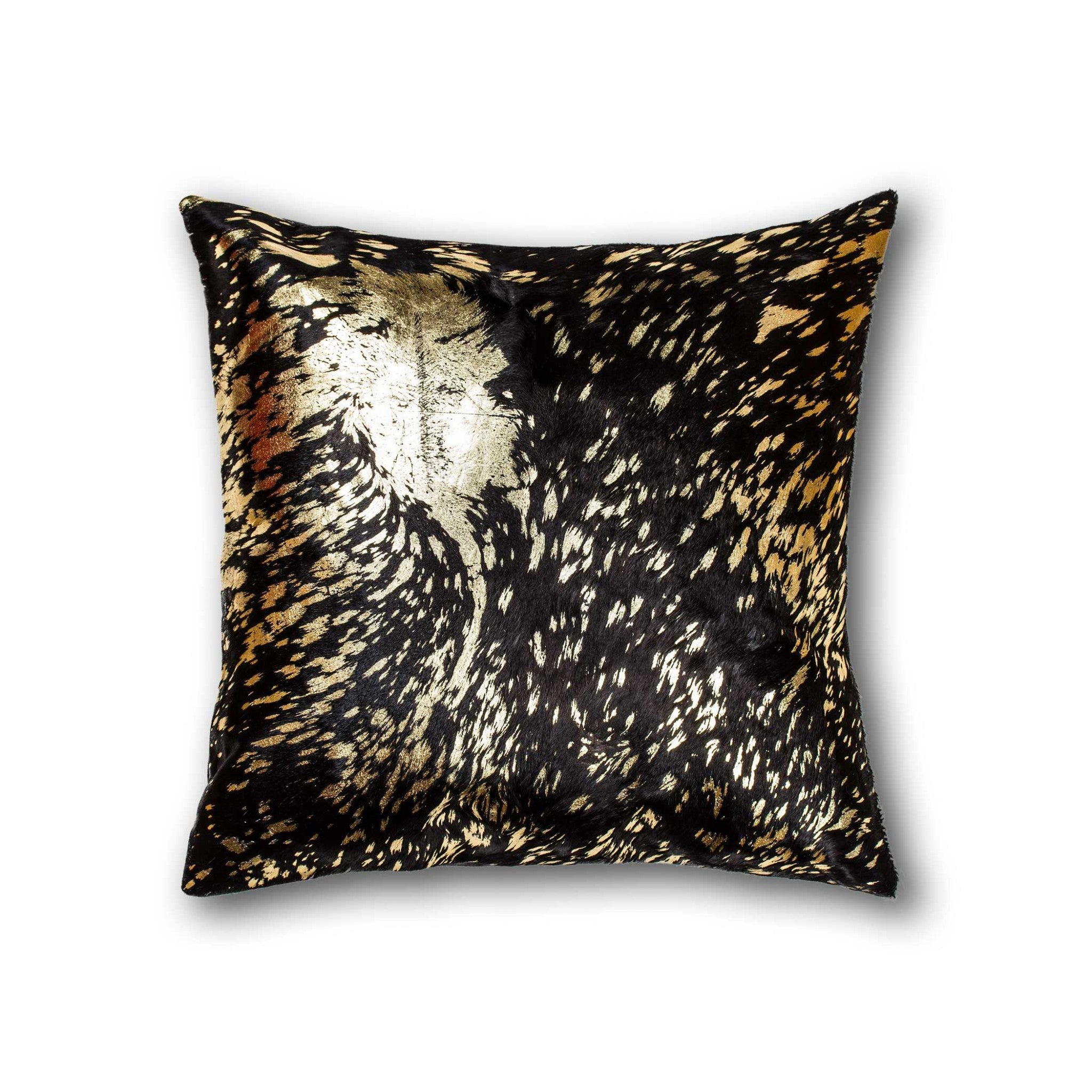 "18"" x 18"" x 5"" Trendy Chocolate & Gold Torino Kobe Cowhide - Pillow"