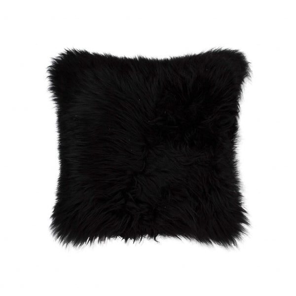 Contemporary Square Black New Zealand Sheepskin Accent Pillow