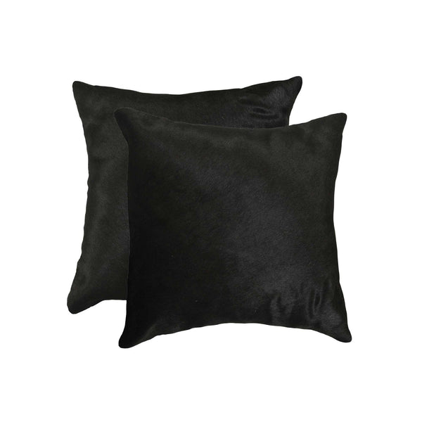 "18"" x 18"" x 5"" Black Torino Cowhide - Pillow  2-Pack"