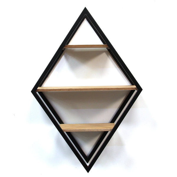 Diamond Wood and Metal Shelf Wall Decor