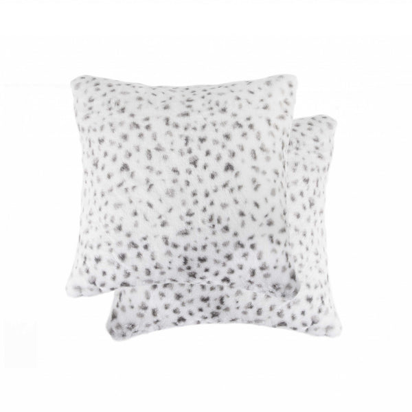 "18"" x 18"" x 5"" Snow Leopard, Faux Fur - Pillow 2-Pack"