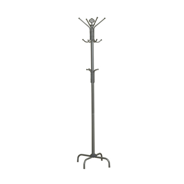 "19"" x 19"" x 70"" Silver  Metal  Coat Rack"