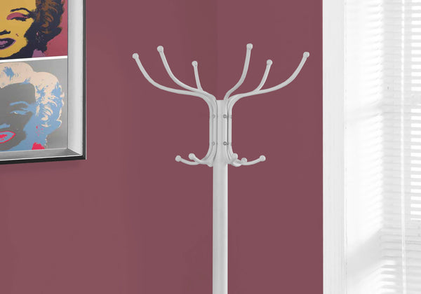 "18"" x 18"" x 70"" White  Metal  Coat Rack"