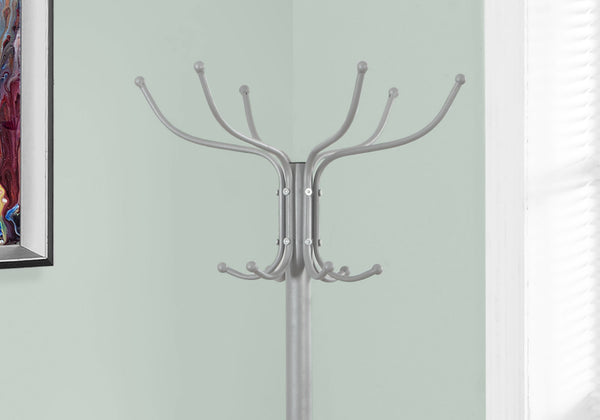"18"" x 18"" x 70"" Silver  Metal  Coat Rack"