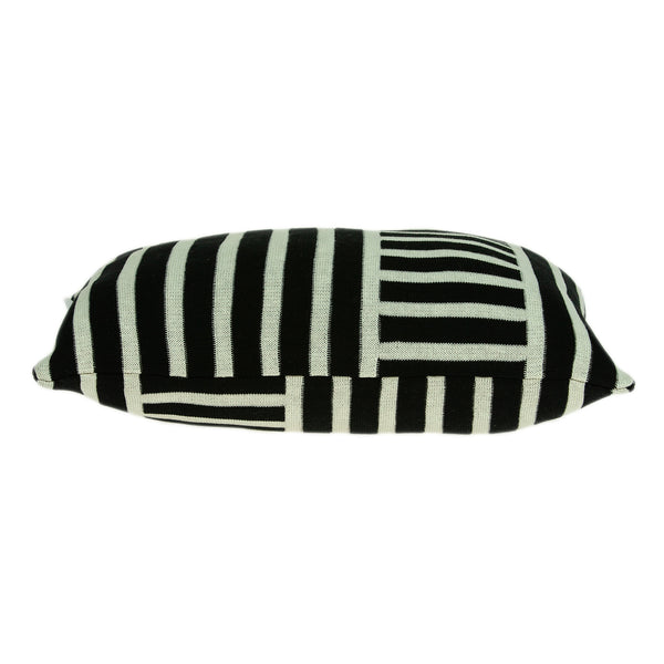 Elegant Black and White Lumbar Accent Pillow Cover