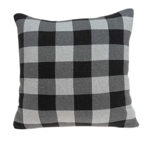 Square Charcoal Buffalo Check Accent Pillow Cover