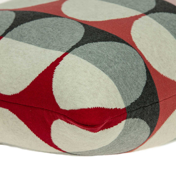 "20"" x 0.5"" x 20"" Transitional Gray And Red Cotton Pillow Cover"