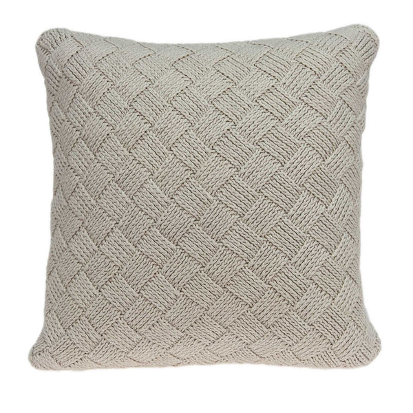 Square Textured Beige Accent Pillow Cover
