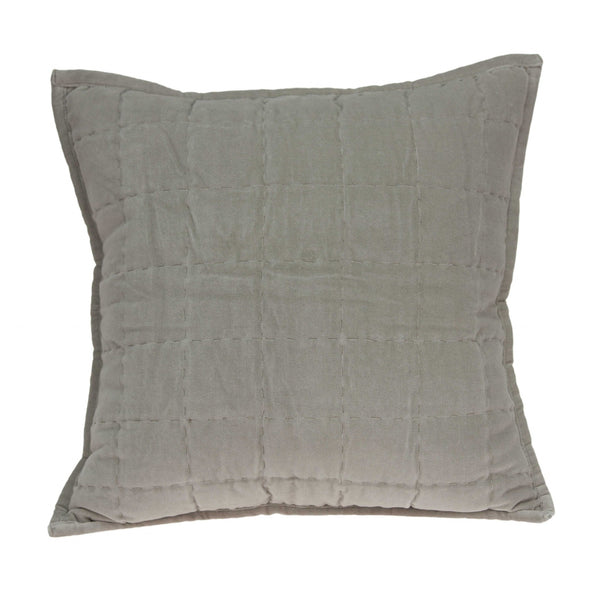 "20"" x 0.5"" x 20"" Transitional Gray Solid Quilted Pillow Cover"