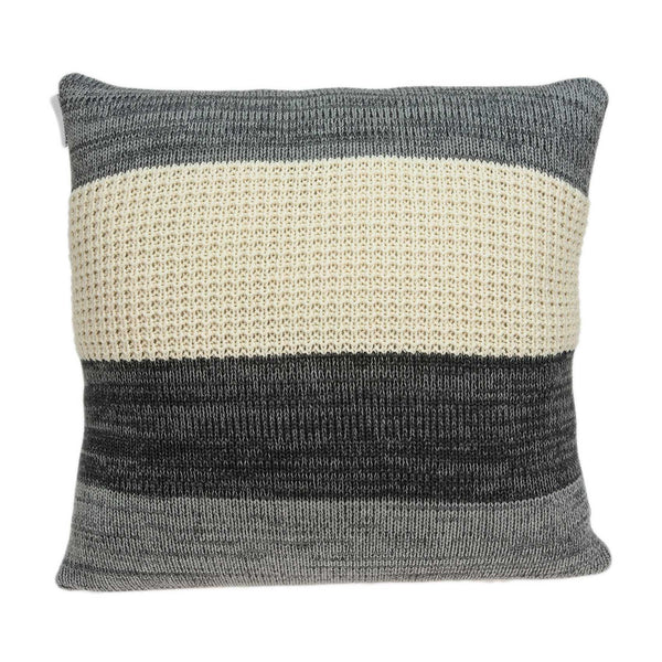 Casual Square Cream and Heather Gray Accent Pillow Cover