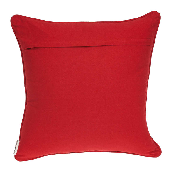 "20"" x 0.5"" x 20"" Transitional Red and White Cotton Pillow Cover"