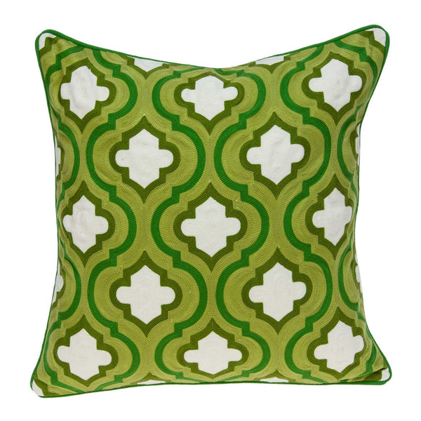 "20"" x 0.5"" x 20"" Transitional Green and White Accent Pillow Cover"