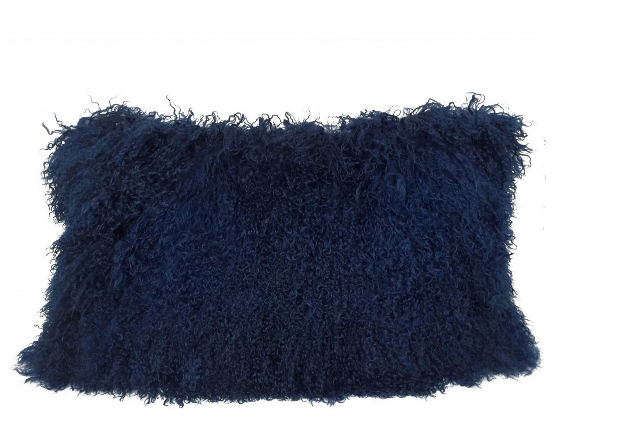 "17"" Navy Blue Genuine Tibetan Lamb Fur Pillow with Microsuede Backing"