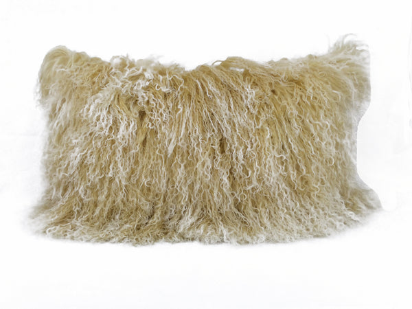 "17"" Gold Genuine Tibetan Lamb Fur Pillow with Microsuede Backing"