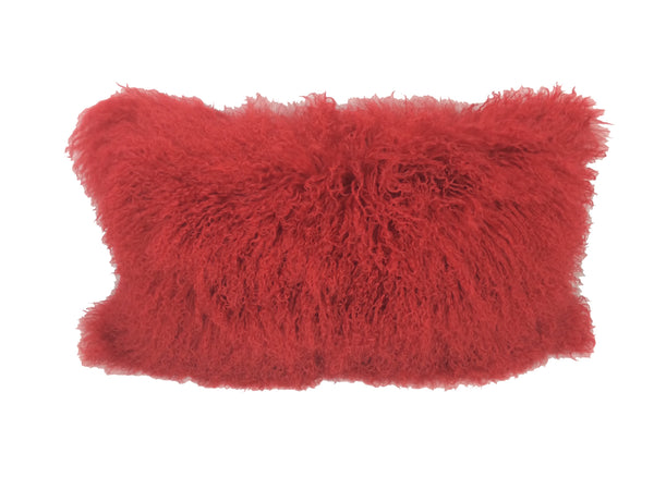 "17"" Red Genuine Tibetan Lamb Fur Pillow with Microsuede Backing"