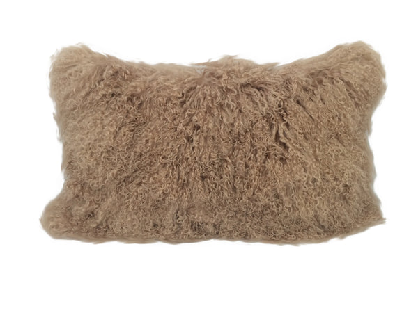 "17"" Beige Genuine Tibetan Lamb Fur Pillow with Microsuede Backing"