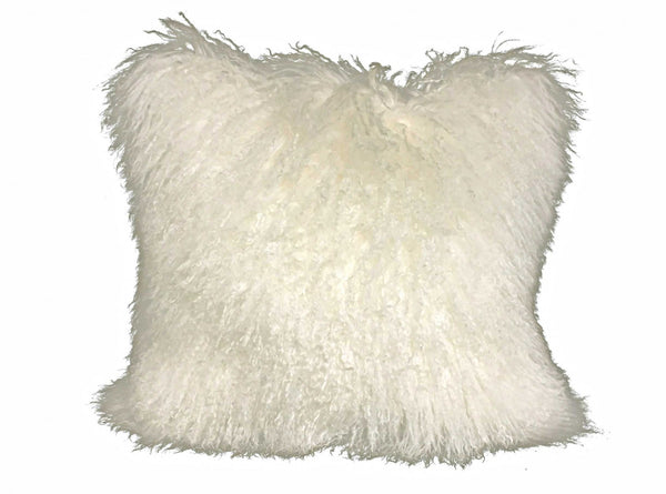 "20"" Creamy White Genuine Tibetan Lamb Fur Pillow with Microsuede Backing"