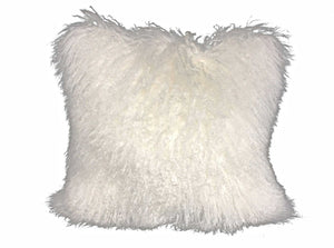 "24"" Bright White Genuine Tibetan Lamb Fur Pillow with Microsuede Backing"