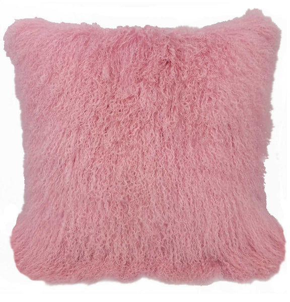 "24"" Pink Genuine Tibetan Lamb Fur Pillow with Microsuede Backing"