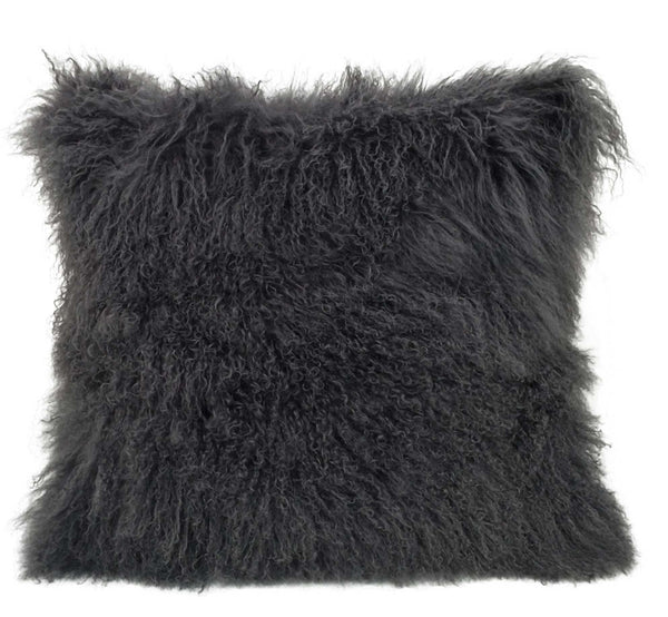"24"" Charcoal Genuine Tibetan Lamb Fur Pillow with Microsuede Backing"